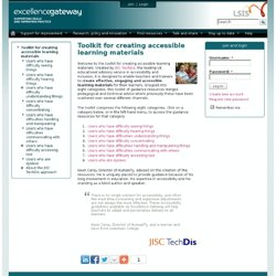 Toolkit for creating accessible learning materials