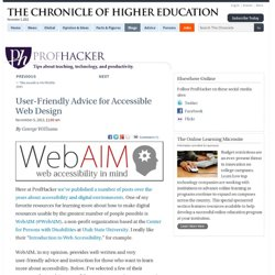 User-Friendly Advice for Accessible Web Design