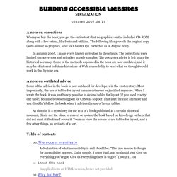 'Building Accessible Websites' serialization