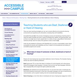 Teaching Students who are Deaf, Deafened or Hard of Hearing