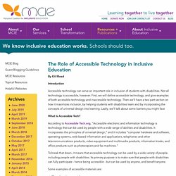 The Role of Accessible Technology in Inclusive Education: Maryland Coalition for Inclusive Education