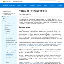 Accessible text requirements