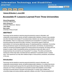 ITD Journal: Accessible IT: Lessons Learned From Three Universities