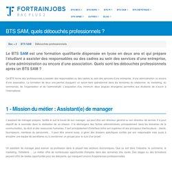 Métiers Accessibles après son BTS SAM (Support à l'Action Managériale)