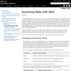 Accessing Data with ADO