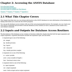 UPF: Chapter 2: Accessing the ANSYS Database (UP19980820)