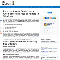 Remove 'Access Denied' error when accessing files or folders in Windows