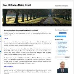 Accessing Real Statistics Tools