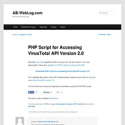 PHP Script for Accessing VirusTotal API Version 2.0
