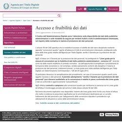 Accesso e fruibilità dei dati