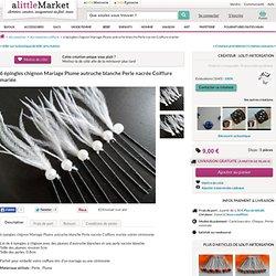 6 épingles chignon Mariage Plume autruche blanche Perle nacrée : Accessoires coiffure par lolit-artcreation sur ALittleMarket