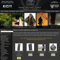 Military clothing, footwear, BDU pants, BDU coats, camouflage, hats, hunting gear, firearm accessories, knives, law enforcement gear, paintball equipment and more. - Maine Military Supply