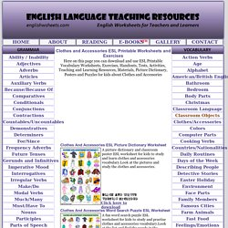 Clothes and Accessories ESL Printable Worksheets and Exercises
