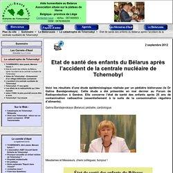 Etat de santé des enfants du Bélarus après l'accident de la centrale nucléaire de Tchernobyl