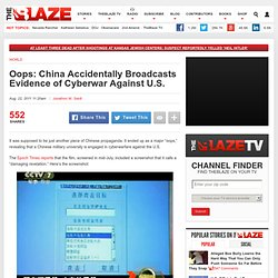China Caught With Evidence of Cyberwarfare Against U.S.