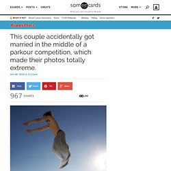 This couple accidentally got married in the middle of a parkour competition, which made their photos totally extreme.