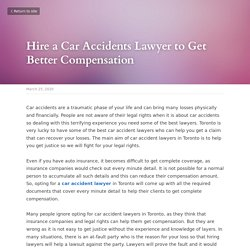 Hire a Car Accidents Lawyer to Get Better Compensation