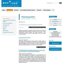 ACCOLAD - Publications - Vient de paraître - Vient de paraître