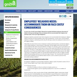 Employees' Religious Needs: Accommodate Them or Face Costly Consequences - HR Information for BC Tourism Employers - go2HR