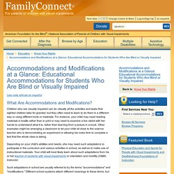 Accommodations for children who are visually impaired