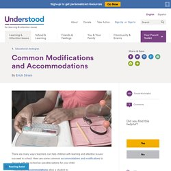Common Classroom Accommodations and Modifications