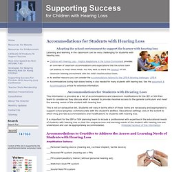 Success For Kids With Hearing Loss » Accommodations for Students with Hearing Loss