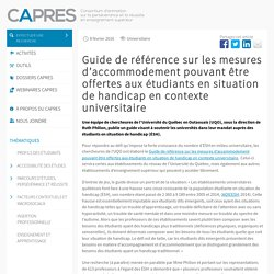 Guide de référence sur les mesures d'accommodement pouvant être offertes aux étudiants en situation de handicap en contexte universitaire