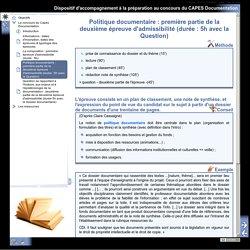 Dispositif d'accompagnement à la préparation au concours du CAPES Documentation - Politique documentaire: première partie de la deuxième épreuve d'admissibilité (durée: 5h avec la Question)