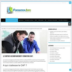 Le contrat accompagnement-formation (CAF) - Formation.Info