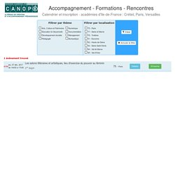Accompagnement - Formations - Rencontres : calendrier et inscription