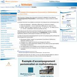 Exemple d'Accompagnement Personnalisé en Mathématiques- Mathématiques