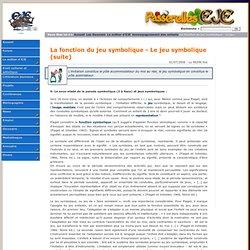 La fonction du jeu symbolique - Le jeu symbolique (suite) Accompagnement des enfants Le métier d'EJE - Passerelles EJE