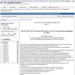 Décret n° 2014-1377 du 18 novembre 2014 relatif au suivi et à l'accompagnement pédagogique des élèves
