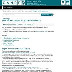 Apprendre l'anglais à l'école élémentaire - CANOPÉ Paris - Le réseau de création et d'accompagnement pédagogiques