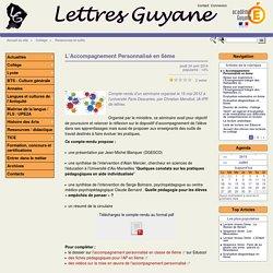L'Accompagnement Personnalisé en 6èmeLettres Guyane