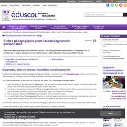 Accompagnement personnalisé au collège - Fiches pédagogiques pour l'accompagnement personnalisé