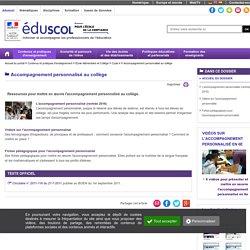 Ressources pour mettre en œuvre l'accompagnement personnalisé au collège