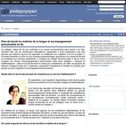 Plan de travail en maîtrise de la langue et accompagnement personnalisé en 6e