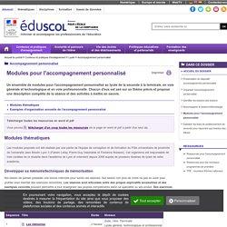 Ressources pour l'accompagnement personnalisé - Modules pour l'accompagnement personnalisé