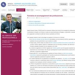 AFSCA 04/07/16 RAPPORT D'ACTIVITE 2015 - Formation et accompagnement des professionnels