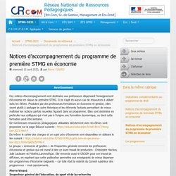 Notices d'accompagnement du programme de première STMG en économie