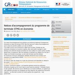 Notices d'accompagnement du programme de terminale STMG en économie