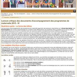 Lecture critique des documents d'accompagnement des programmes de maternelle 2015 - IV