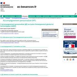 L'accompagnement personnalisé (AP) au lycée d'enseignement général et technologique (LEGT) - Rectorat de l'académie de Besançon - Accompagnement personnalisé
