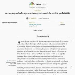 Accompagner le changement des organismes de formation par la FOAD