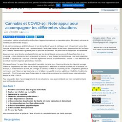 Cannabis et COVID-19 : Note appui pour accompagner les différentes situations / OFDT, mars 2020