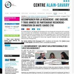 Accompagner par la recherche : une gageure ? Trois années de partenariat recherche-formation en Haute-Savoie (74)