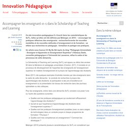 Accompagner les enseignant-e-s dans le Scholarship of Teaching and Learning