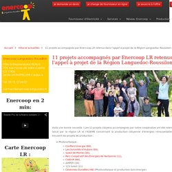 11 projets accompagnés par Enercoop LR retenus dans l'appel à projet de la Région Languedoc-Roussilon - Enercoop Languedoc-Roussillon