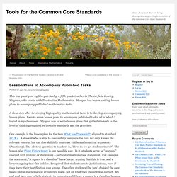 Lesson Plans to Accompany Published Tasks